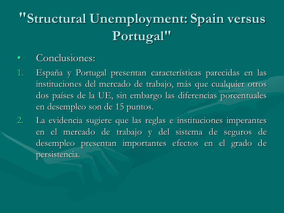 Structural Unemployment: Spain versus Portugal Conclusiones:Conclusiones: 1.España y Portugal presentan características parecidas en las instituciones del mercado de trabajo, más que cualquier otros dos países de la UE, sin embargo las diferencias porcentuales en desempleo son de 15 puntos.