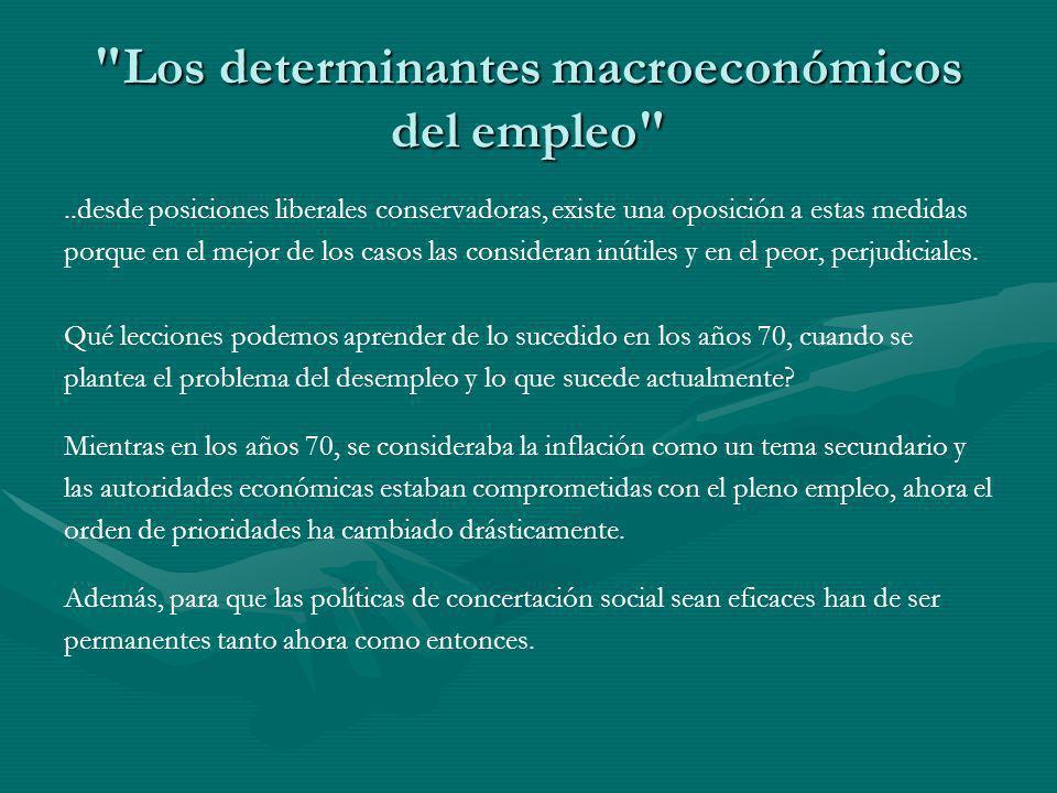 Los determinantes macroeconómicos del empleo ..desde posiciones liberales conservadoras, existe una oposición a estas medidas porque en el mejor de los casos las consideran inútiles y en el peor, perjudiciales.