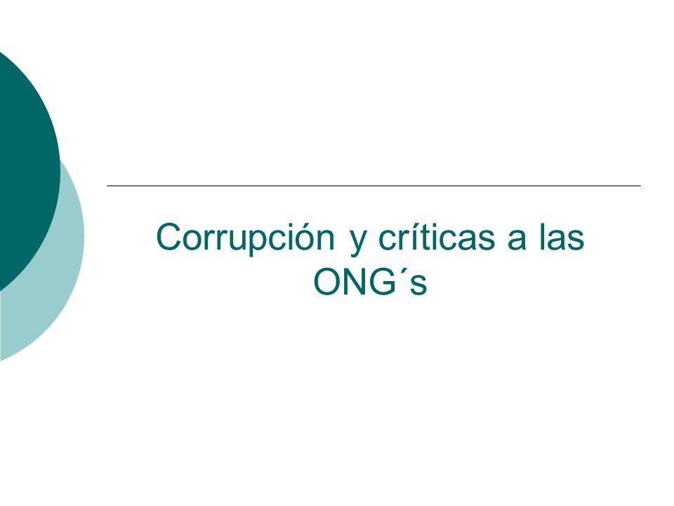 Corrupción y críticas a las ONG´s
