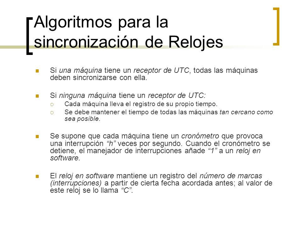 Algoritmos para la sincronización de Relojes Si una máquina tiene un receptor de UTC, todas las máquinas deben sincronizarse con ella. Si ninguna máqu