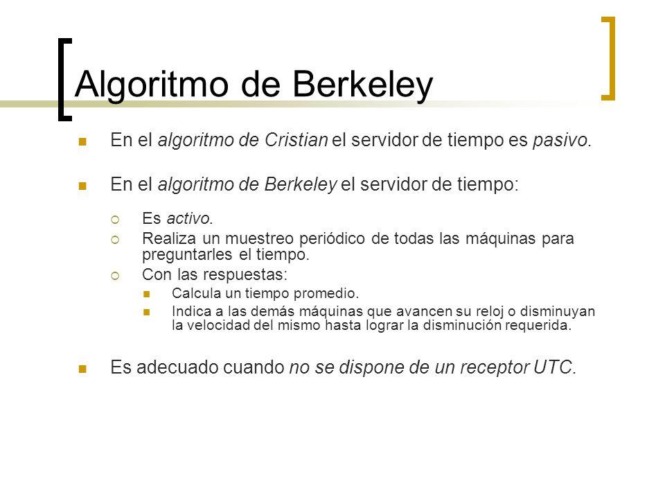 Algoritmo de Berkeley En el algoritmo de Cristian el servidor de tiempo es pasivo. En el algoritmo de Berkeley el servidor de tiempo: Es activo. Reali