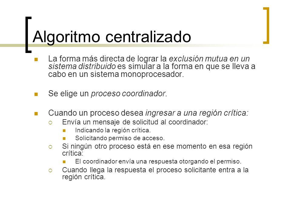 Algoritmo centralizado La forma más directa de lograr la exclusión mutua en un sistema distribuido es simular a la forma en que se lleva a cabo en un