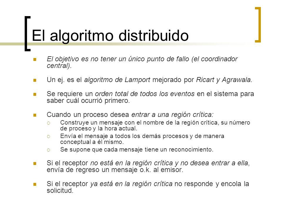 El algoritmo distribuido El objetivo es no tener un único punto de fallo (el coordinador central). Un ej. es el algoritmo de Lamport mejorado por Rica