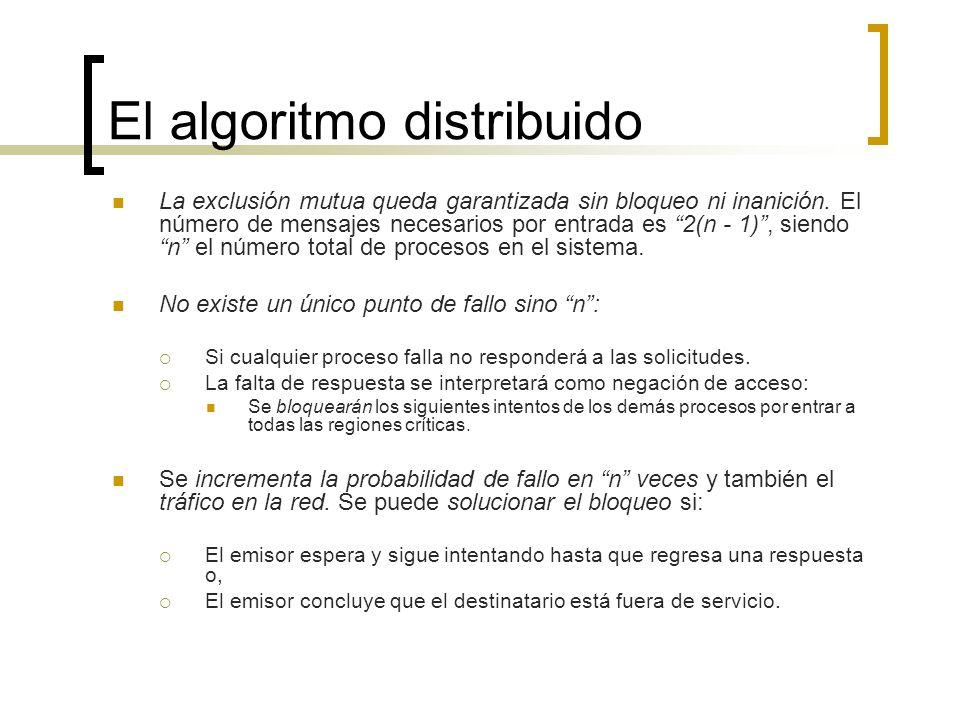 El algoritmo distribuido La exclusión mutua queda garantizada sin bloqueo ni inanición. El número de mensajes necesarios por entrada es 2(n - 1), sien