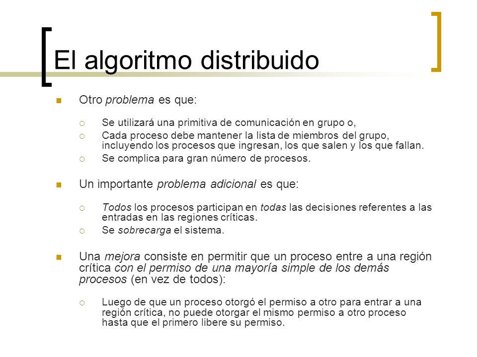 El algoritmo distribuido Otro problema es que: Se utilizará una primitiva de comunicación en grupo o, Cada proceso debe mantener la lista de miembros