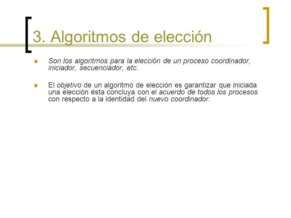 3. Algoritmos de elección Son los algoritmos para la elección de un proceso coordinador, iniciador, secuenciador, etc. El objetivo de un algoritmo de