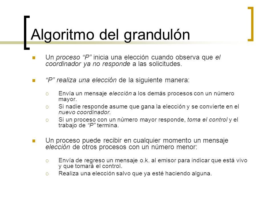 Algoritmo del grandulón Un proceso P inicia una elección cuando observa que el coordinador ya no responde a las solicitudes. P realiza una elección de