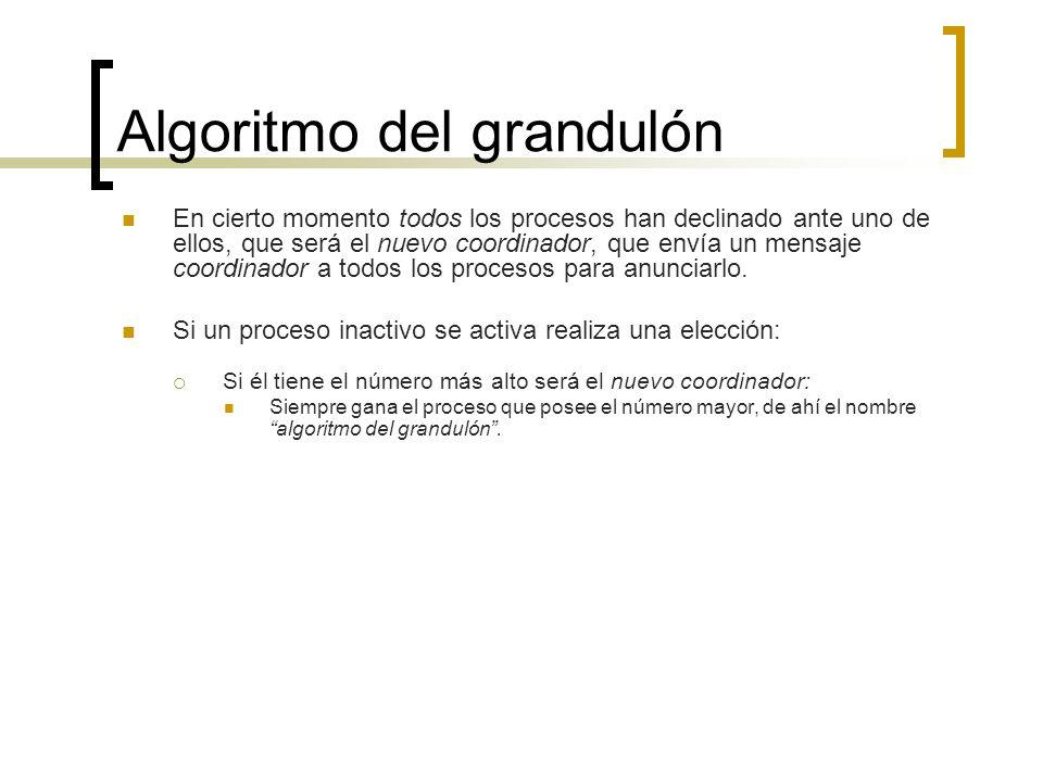 Algoritmo del grandulón En cierto momento todos los procesos han declinado ante uno de ellos, que será el nuevo coordinador, que envía un mensaje coor