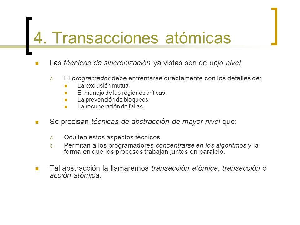 4. Transacciones atómicas Las técnicas de sincronización ya vistas son de bajo nivel: El programador debe enfrentarse directamente con los detalles de