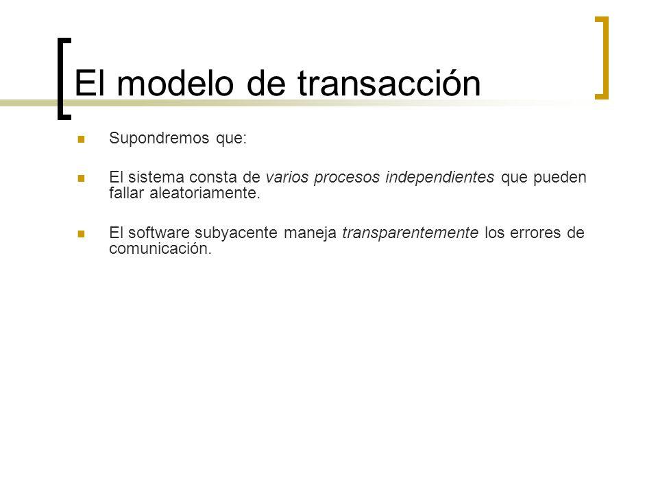 El modelo de transacción Supondremos que: El sistema consta de varios procesos independientes que pueden fallar aleatoriamente. El software subyacente