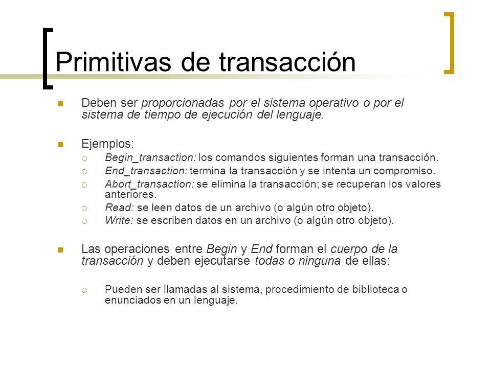 Primitivas de transacción Deben ser proporcionadas por el sistema operativo o por el sistema de tiempo de ejecución del lenguaje. Ejemplos: Begin_tran
