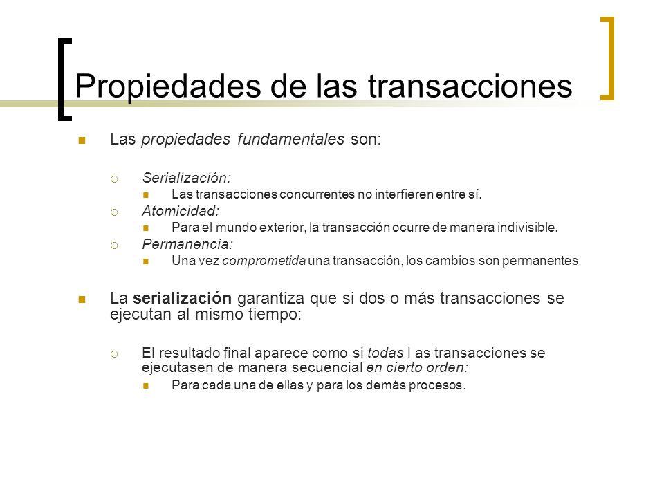 Propiedades de las transacciones Las propiedades fundamentales son: Serialización: Las transacciones concurrentes no interfieren entre sí. Atomicidad: