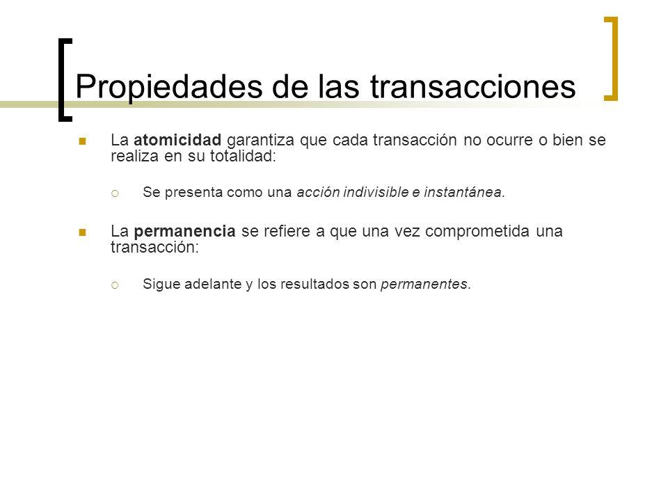 Propiedades de las transacciones La atomicidad garantiza que cada transacción no ocurre o bien se realiza en su totalidad: Se presenta como una acción