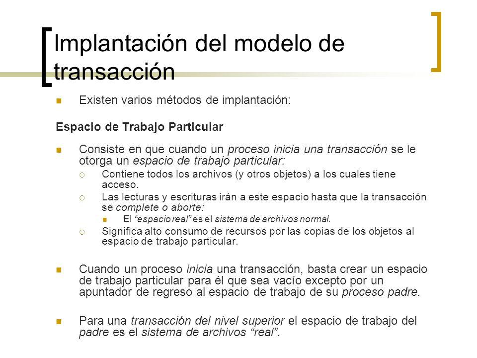 Implantación del modelo de transacción Existen varios métodos de implantación: Espacio de Trabajo Particular Consiste en que cuando un proceso inicia