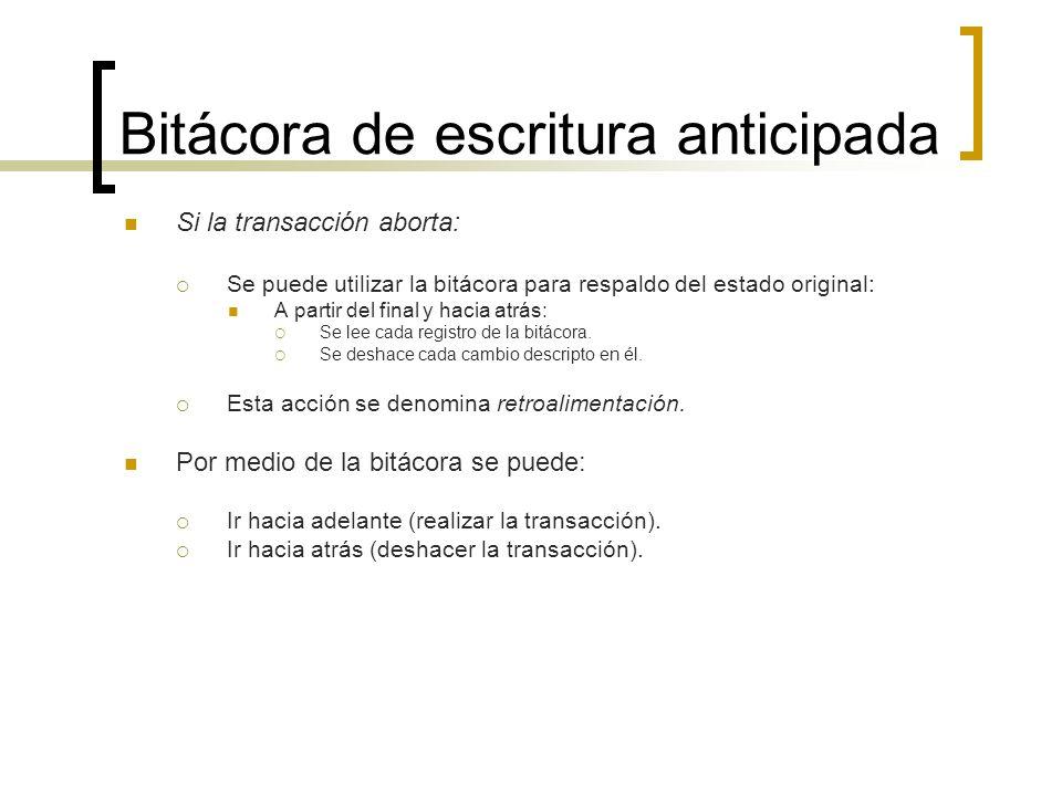 Bitácora de escritura anticipada Si la transacción aborta: Se puede utilizar la bitácora para respaldo del estado original: A partir del final y hacia