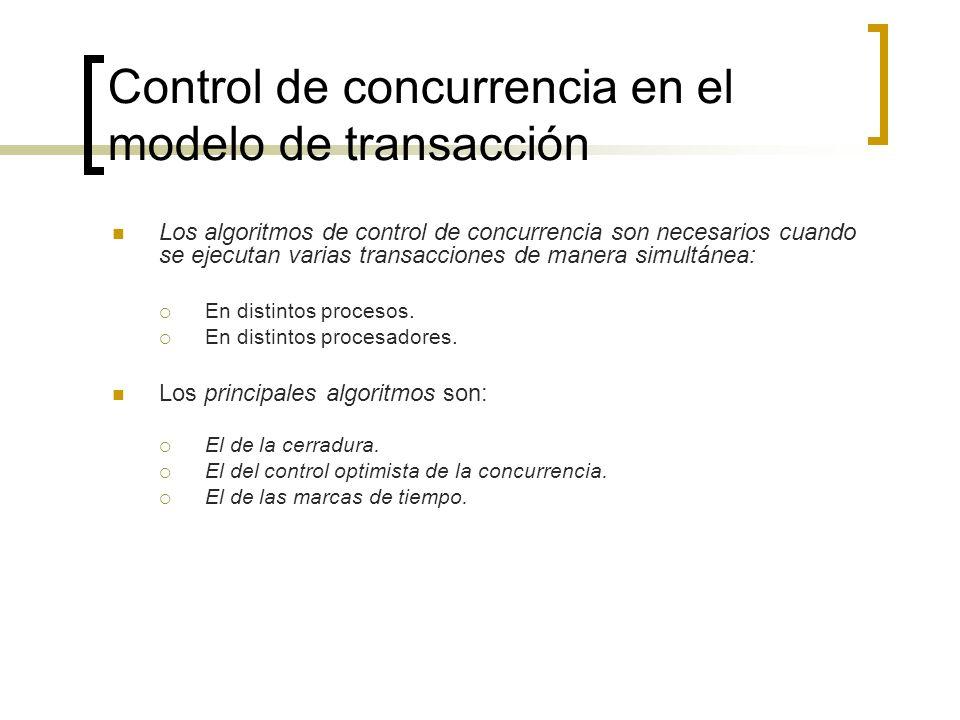 Control de concurrencia en el modelo de transacción Los algoritmos de control de concurrencia son necesarios cuando se ejecutan varias transacciones d