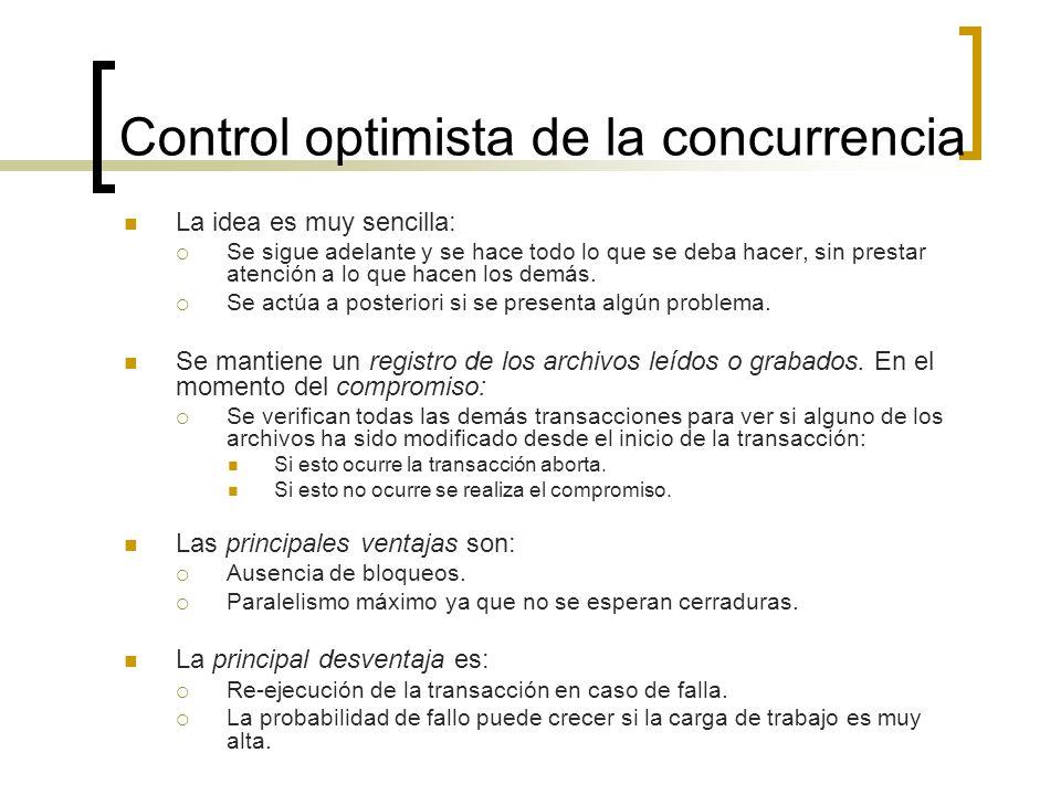 Control optimista de la concurrencia La idea es muy sencilla: Se sigue adelante y se hace todo lo que se deba hacer, sin prestar atención a lo que hac