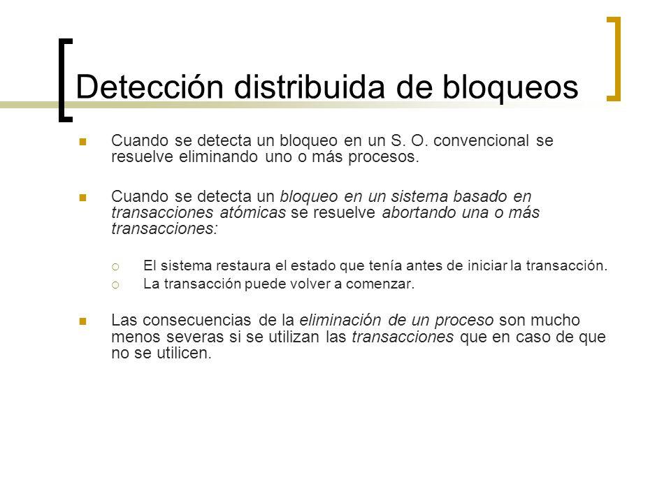 Detección distribuida de bloqueos Cuando se detecta un bloqueo en un S. O. convencional se resuelve eliminando uno o más procesos. Cuando se detecta u