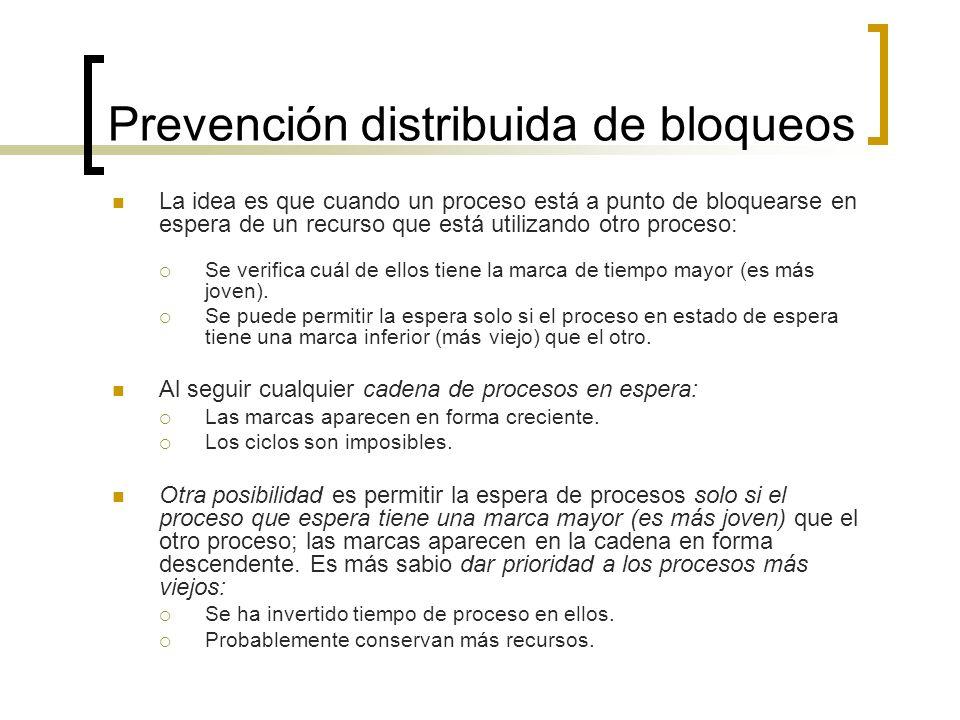 Prevención distribuida de bloqueos La idea es que cuando un proceso está a punto de bloquearse en espera de un recurso que está utilizando otro proces