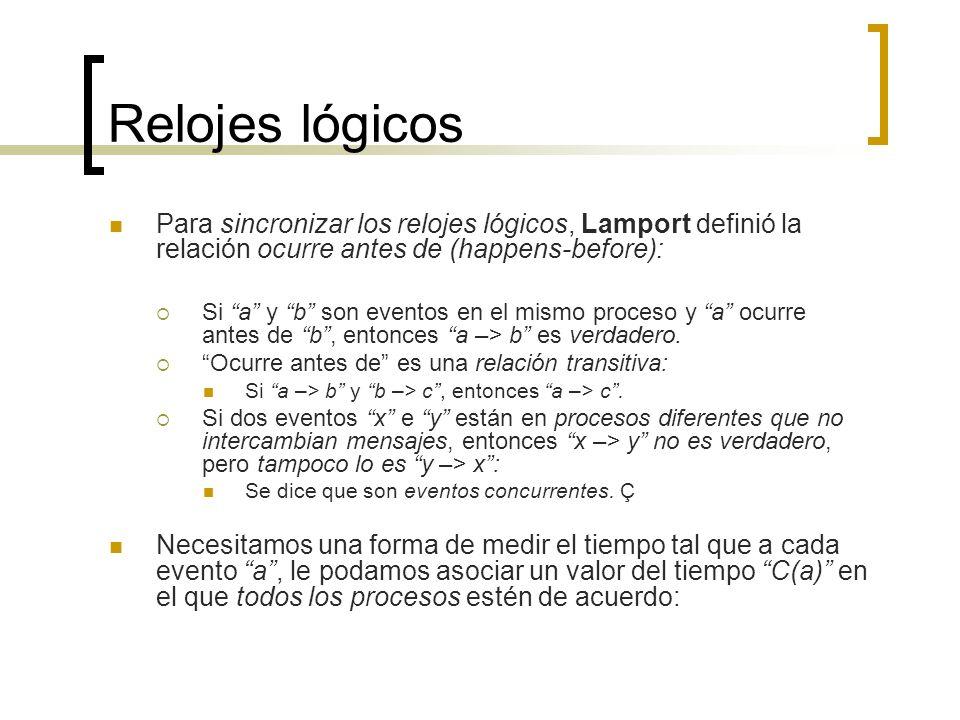 Relojes lógicos Para sincronizar los relojes lógicos, Lamport definió la relación ocurre antes de (happens-before): Si a y b son eventos en el mismo p