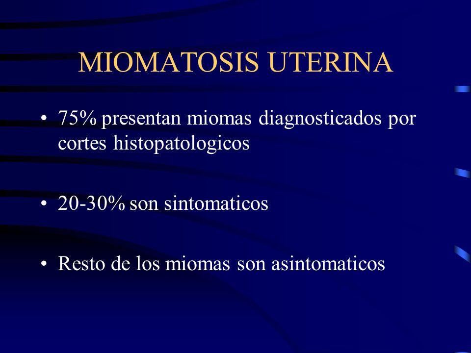 MIOMATOSIS UTERINA 75% presentan miomas diagnosticados por cortes histopatologicos 20-30% son sintomaticos Resto de los miomas son asintomaticos