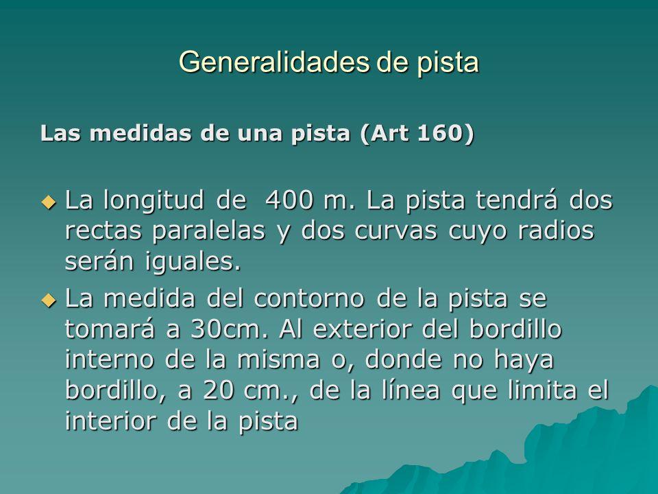 Las medidas de una pista (Art 160) La longitud de 400 m. La pista tendrá dos rectas paralelas y dos curvas cuyo radios serán iguales. La longitud de 4