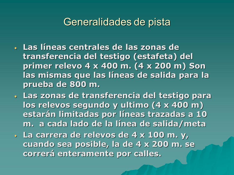 Generalidades de pista Las líneas centrales de las zonas de transferencia del testigo (estafeta) del primer relevo 4 x 400 m. (4 x 200 m) Son las mism