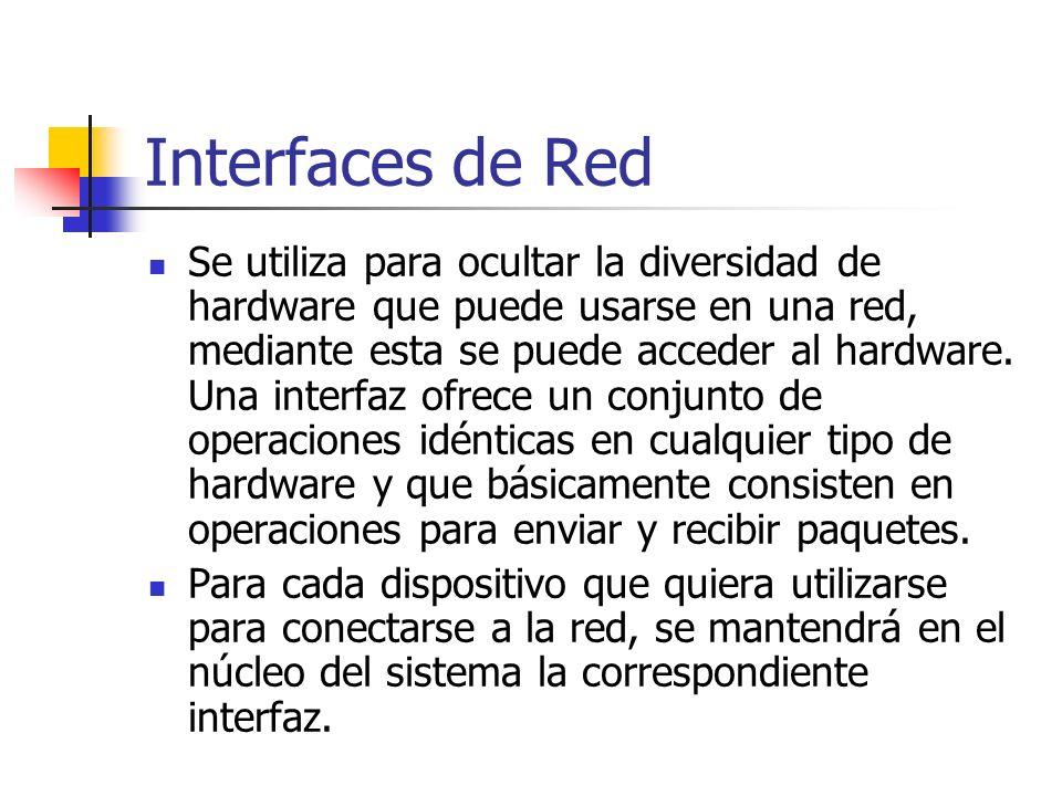 Interfaces de Red Se utiliza para ocultar la diversidad de hardware que puede usarse en una red, mediante esta se puede acceder al hardware. Una inter
