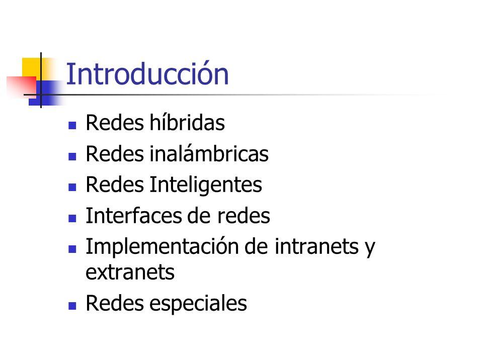 Introducción Redes híbridas Redes inalámbricas Redes Inteligentes Interfaces de redes Implementación de intranets y extranets Redes especiales