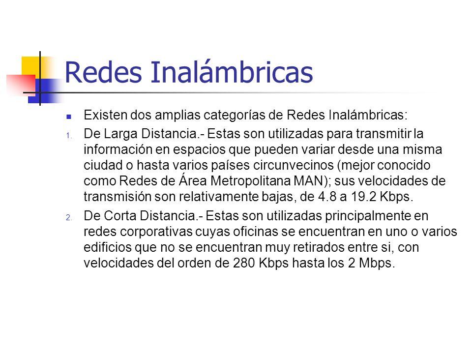 Redes Inalámbricas Existen dos tipos de redes de larga distancia: Redes de Conmutación de Paquetes (públicas y privadas) y Redes Telefónicas Celulares.