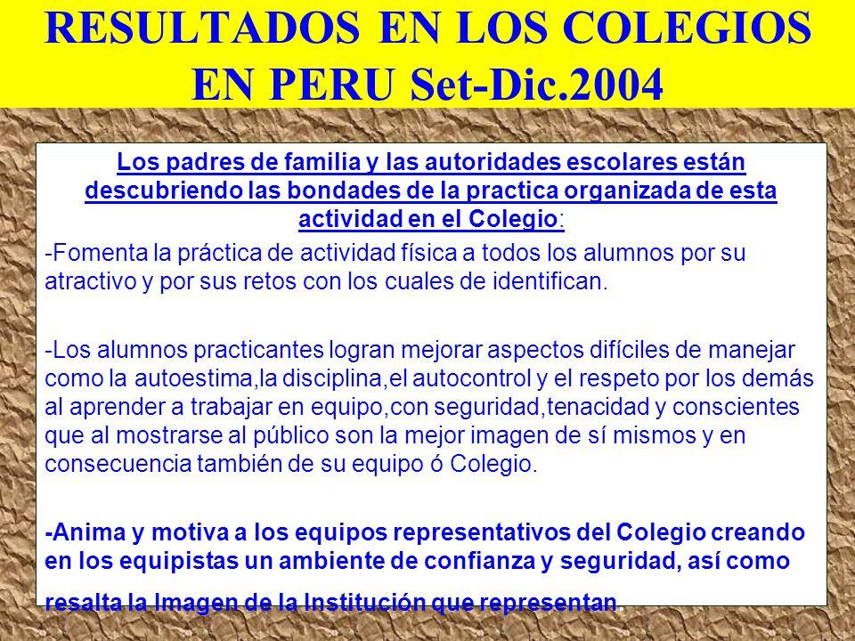RESULTADOS EN LOS COLEGIOS EN PERU Set-Dic.2004 Los padres de familia y las autoridades escolares están descubriendo las bondades de la practica organ