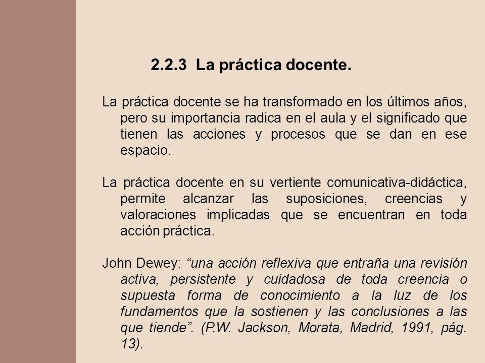 2.2.3 La práctica docente. La práctica docente se ha transformado en los últimos años, pero su importancia radica en el aula y el significado que tien