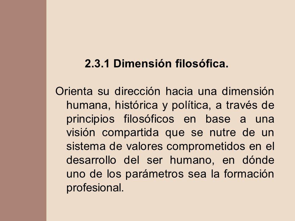 2.3.1 Dimensión filosófica. Orienta su dirección hacia una dimensión humana, histórica y política, a través de principios filosóficos en base a una vi