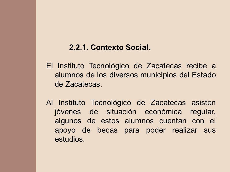 2.2.1. Contexto Social. El Instituto Tecnológico de Zacatecas recibe a alumnos de los diversos municipios del Estado de Zacatecas. Al Instituto Tecnol