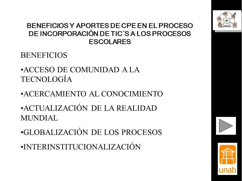 BENEFICIOS Y APORTES DE CPE EN EL PROCESO DE INCORPORACIÓN DE TIC´S A LOS PROCESOS ESCOLARES BENEFICIOS ACCESO DE COMUNIDAD A LA TECNOLOGÍA ACERCAMIEN