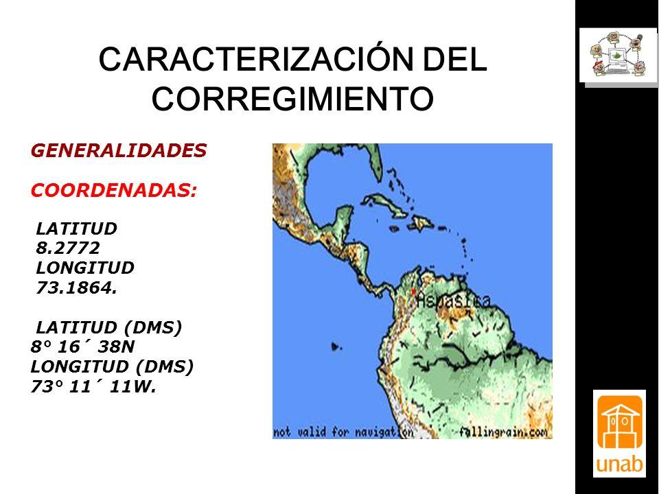 CARACTERIZACIÓN DEL CORREGIMIENTO GENERALIDADES COORDENADAS: LATITUD 8.2772 LONGITUD 73.1864. LATITUD (DMS) 8° 16´ 38N LONGITUD (DMS) 73° 11´ 11W.