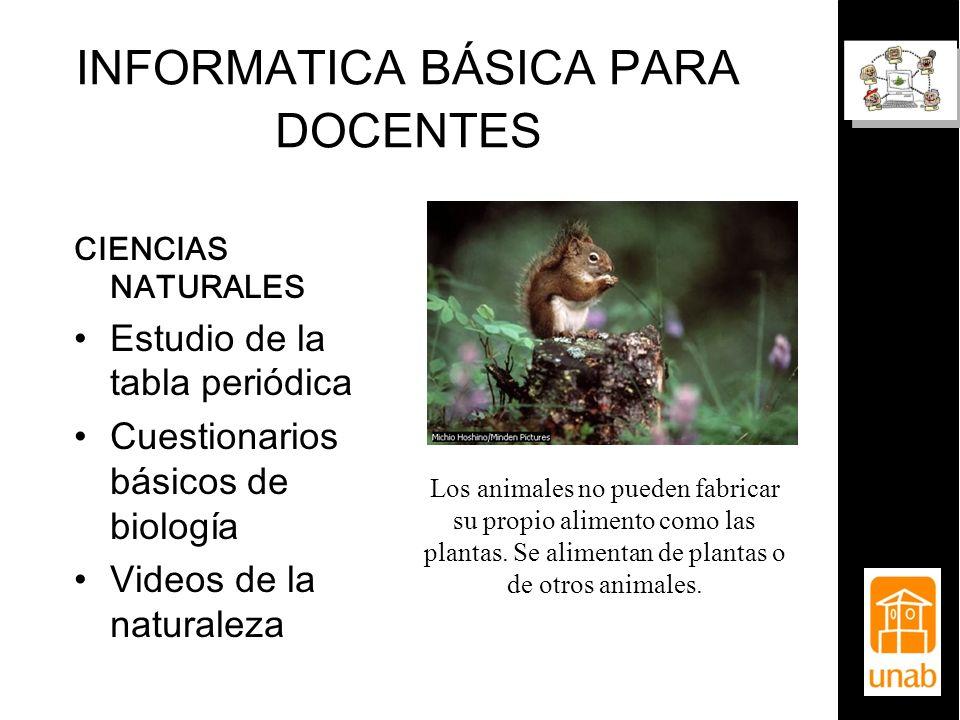 INFORMATICA BÁSICA PARA DOCENTES CIENCIAS NATURALES Estudio de la tabla periódica Cuestionarios básicos de biología Videos de la naturaleza Los animal