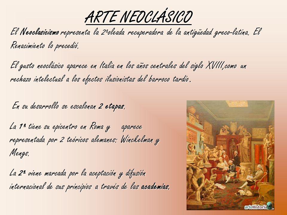 ARTE NEOCLÁSICO El Neoclasicismo representa la 2ªoleada recuperadora de la antigüedad greco-latina. El Renacimiento lo precedió. El gusto neoclásico a