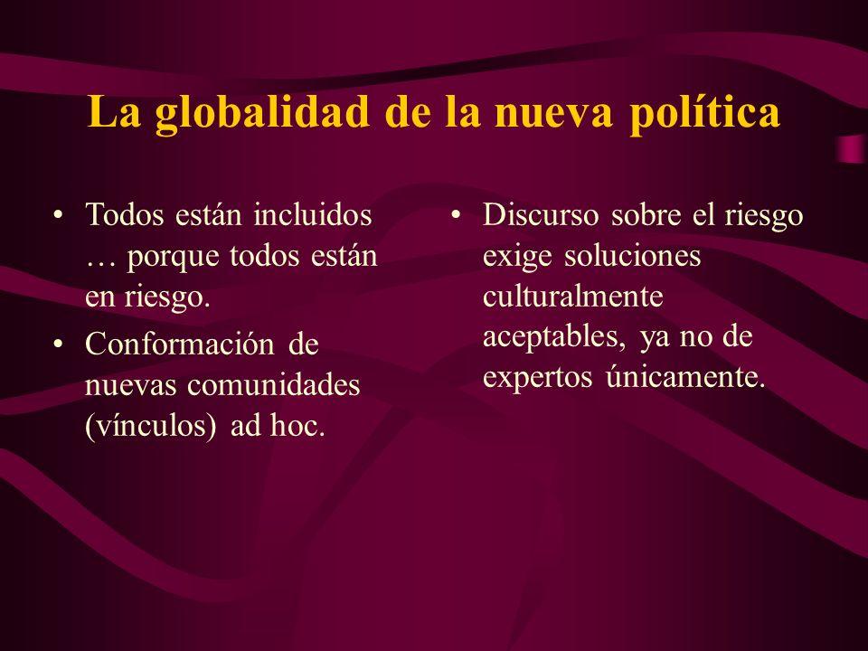 La globalidad de la nueva política Todos están incluidos … porque todos están en riesgo. Conformación de nuevas comunidades (vínculos) ad hoc. Discurs
