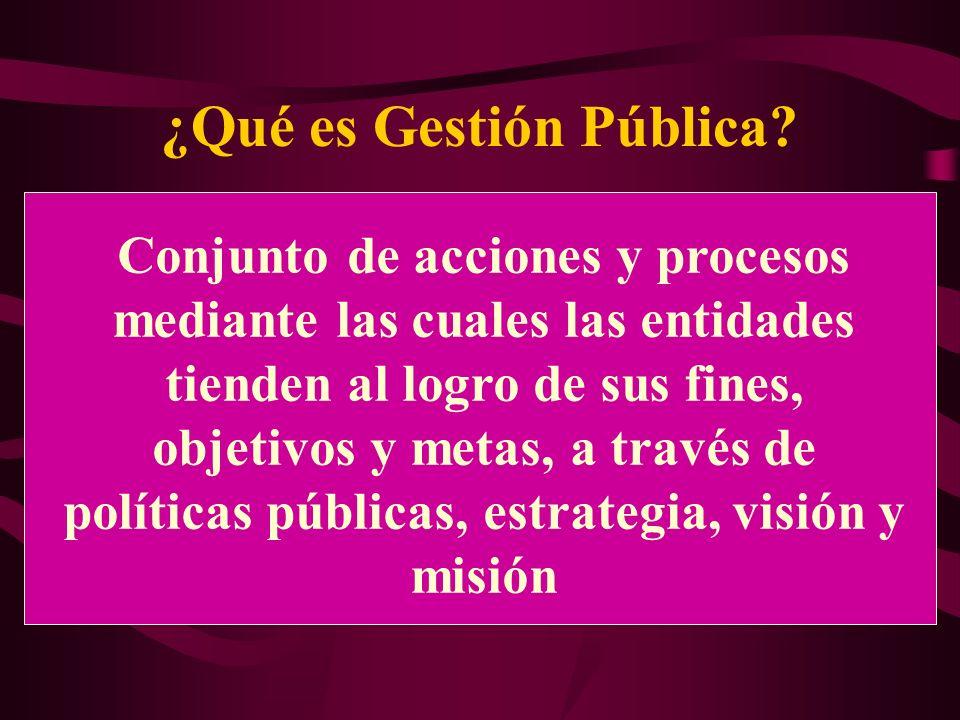 ¿Qué es Gestión Pública? Conjunto de acciones y procesos mediante las cuales las entidades tienden al logro de sus fines, objetivos y metas, a través