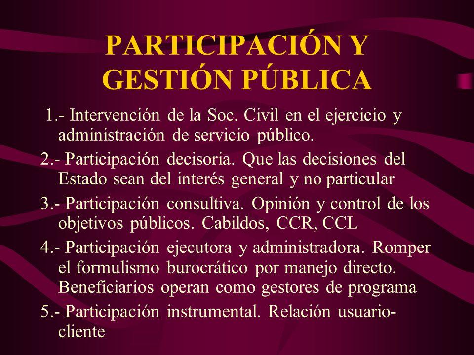 PARTICIPACIÓN Y GESTIÓN PÚBLICA 1.- Intervención de la Soc. Civil en el ejercicio y administración de servicio público. 2.- Participación decisoria. Q