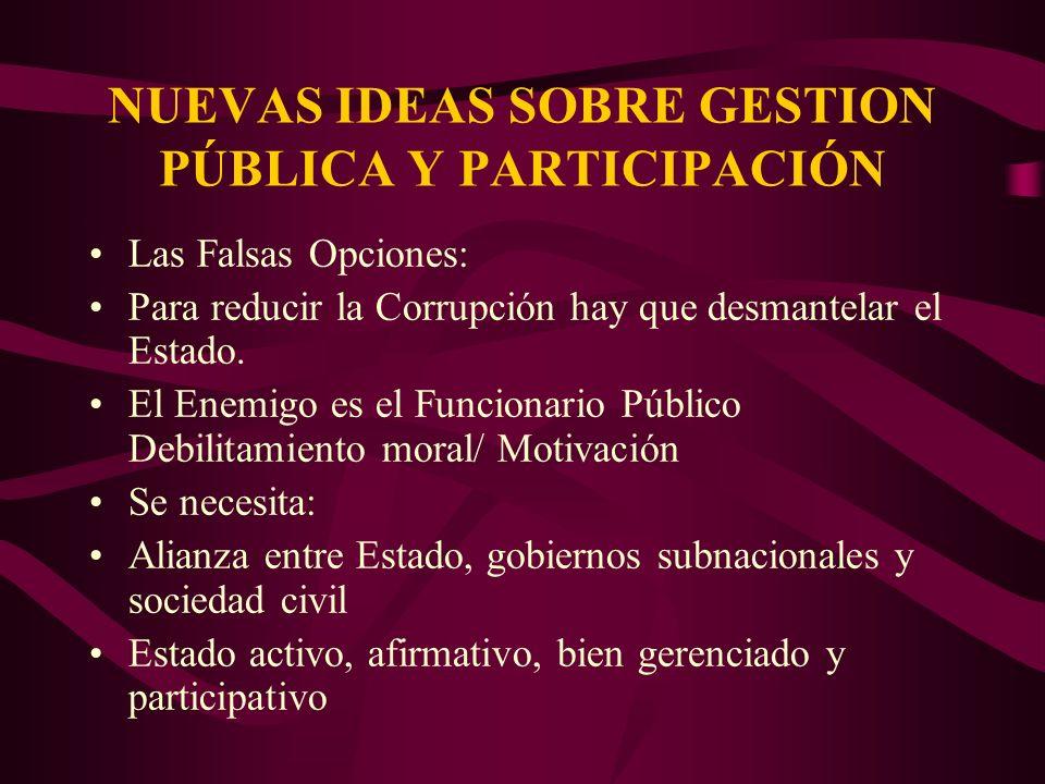 NUEVAS IDEAS SOBRE GESTION PÚBLICA Y PARTICIPACIÓN Las Falsas Opciones: Para reducir la Corrupción hay que desmantelar el Estado. El Enemigo es el Fun