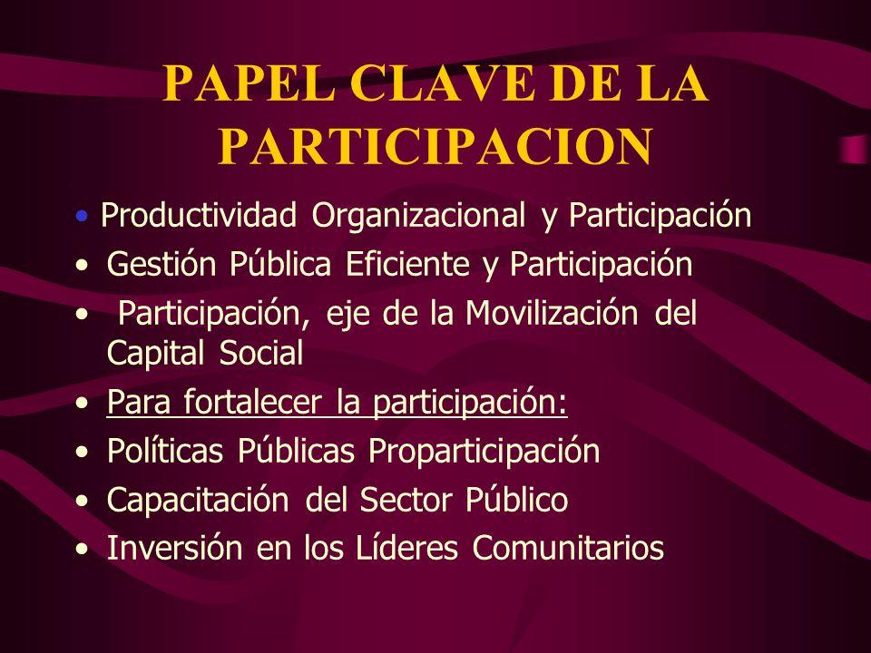 PAPEL CLAVE DE LA PARTICIPACION Productividad Organizacional y Participación Gestión Pública Eficiente y Participación Participación, eje de la Movili