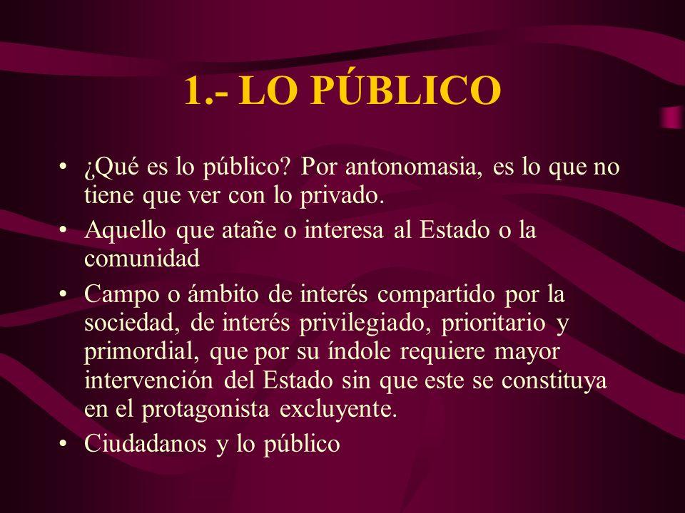 1.- LO PÚBLICO ¿Qué es lo público? Por antonomasia, es lo que no tiene que ver con lo privado. Aquello que atañe o interesa al Estado o la comunidad C