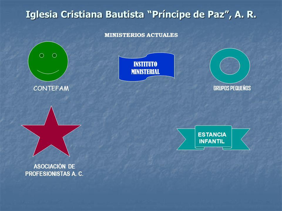 Iglesia Cristiana Bautista Príncipe de Paz, A. R. MINISTERIOS ACTUALES CONTEFAM INSTITUTO MINISTERIAL GRUPOS PEQUEÑOS ASOCIACIÓN DE PROFESIONISTAS A.