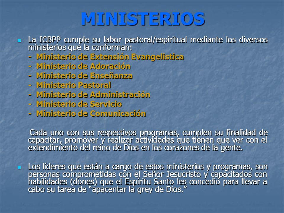 MINISTERIOS La ICBPP cumple su labor pastoral/espiritual mediante los diversos ministerios que la conforman: La ICBPP cumple su labor pastoral/espirit