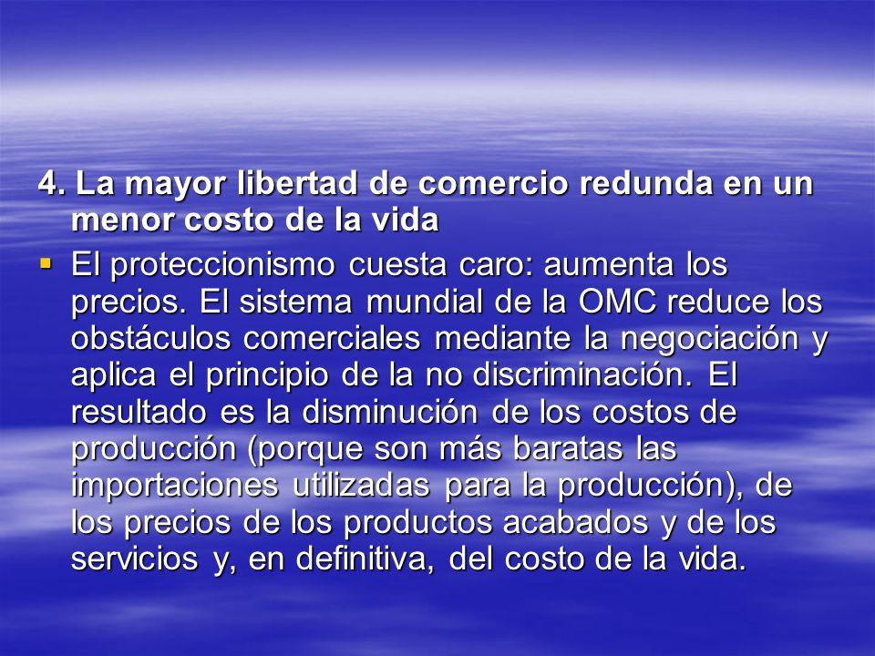 4. La mayor libertad de comercio redunda en un menor costo de la vida El proteccionismo cuesta caro: aumenta los precios. El sistema mundial de la OMC