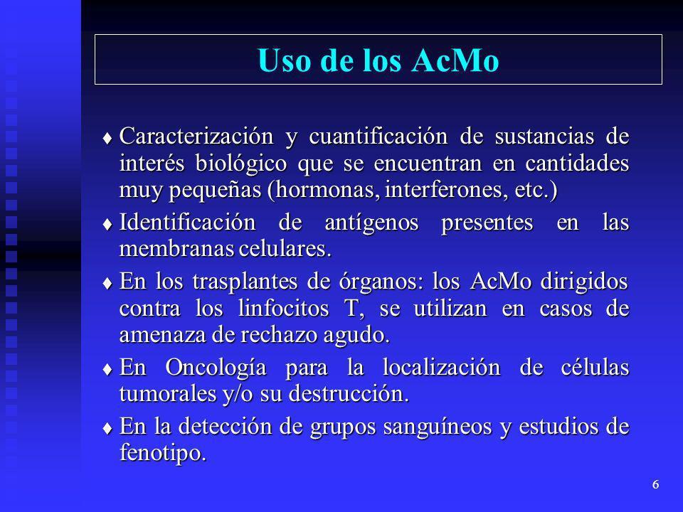 5 Anticuerpos monoclonales (AcMo) Cuando se realiza una inmunización con el objeto de producir anticuerpos frente a un antígeno, se produce gran varie