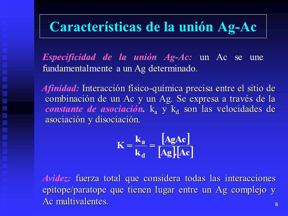 7 Interacción Ag-Ac La zona por donde se unen Ag y Ac se encuentra a nivel de los puentes disulfuro intercatenarios de la molécula de Ac. (Zona Bisagr