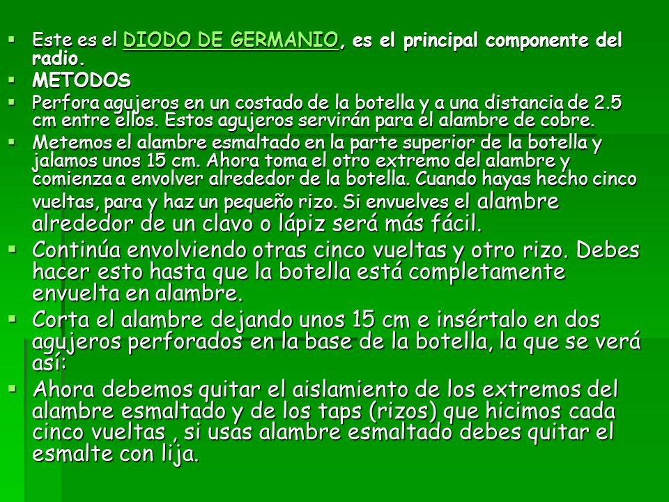 Este es el DIODO DE GERMANIO, es el principal componente del radio. Este es el DIODO DE GERMANIO, es el principal componente del radio.DIODO DE GERMAN